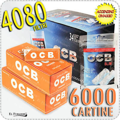 4080 Filtri OCB SLIM 6mm 34 BUSTE + 6000 Cartine OCB ORANGE CORTE ARANCIONI