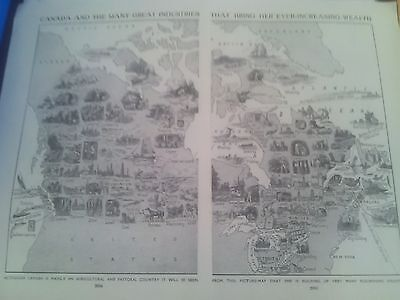1924 Map of Wealth of Industries of Canada 2 Small Pages Ideal to Frame