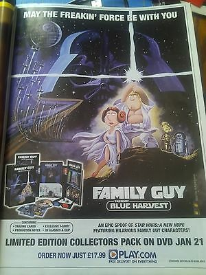 Family Guy Star Wars Spoof DVD Boxset Advert A4 Page from Magazine