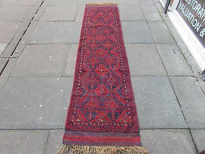 Old Hand Made Afghan Tribal Mushvani Oriental Red Wool Narrow Runner 253x63cm