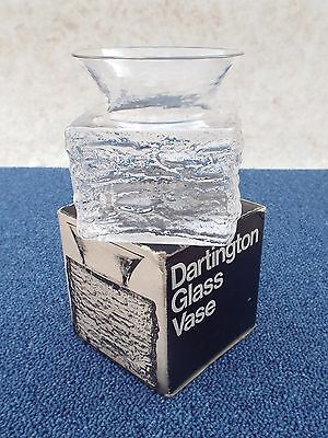 Dartington Clear Glass Flared Top Vase Frank Thrower Bark Finish Boxed Hand Made