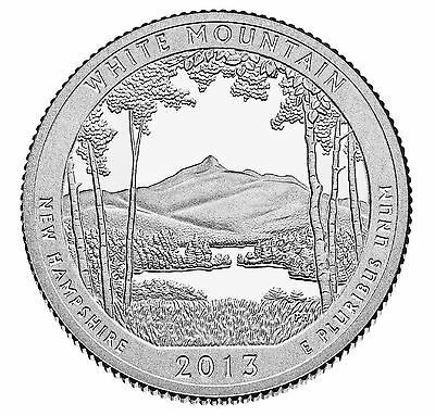 """National Park ATB Quarter UNC. Roll of 40 """" S """" Mint 2013 #16 White Mountain NH"""