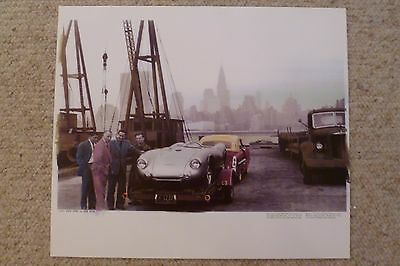 1953 Porsche 550 Spyder Hans Hermann Showroom Advertising Poster RARE!! Awesome