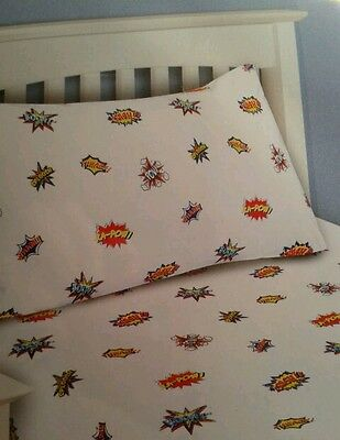 Single Fitted Sheet & Pillow Case Two Piece Set Children Boys comic Bedroom