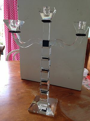 Galway Crystal Deco 3 Arm Candle Holder.