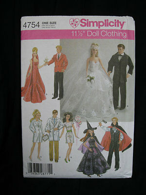 Fits Barbie & Ken 11.5 in Dolls clothes pattern costumes, bridal, medical,