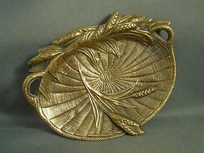 Antique Ornate Cast Brass Oval Pin Dish - Styled as a Woven Tray with Wheat