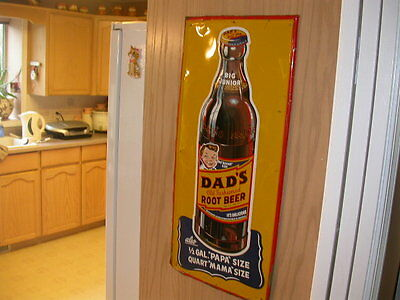 Large Scarce Dad's Root Beer Big Junior embossed tin sign