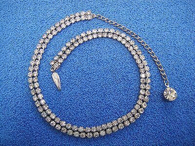 """Vintage Double Row Prong Set Clear Rhinestone Choker Necklace 12 -15"""" Long"""