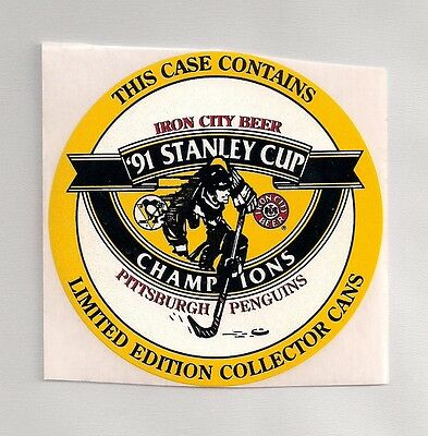 Pittsburgh Penguins 1991 Stanley Cup Champions Iron City Beer NHL Decal Sticker