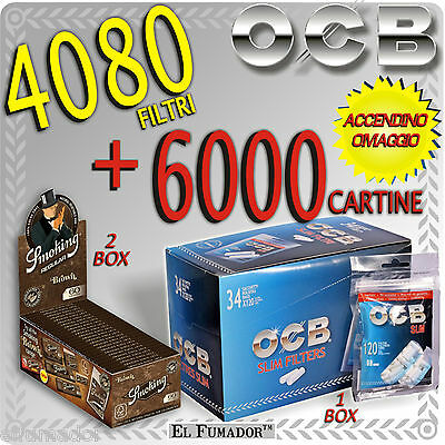 6000 Cartine SMOKING BROWN CORTE MARRONI 2 Box + 4080 Filtri OCB SLIM 6mm BUSTE