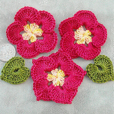 5 pc Satiny Handmade Crochet Flower Leaf Appliques Rosy Red LAST SET