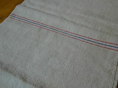 Antique European Feed Sack GRAIN SACK Red & Blue Stripes # 8280