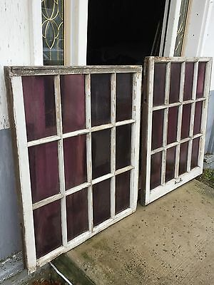 2 Shabby Cottage Antique 12 Pane Amethyst Purple Glass Windows Garden Art Pickup