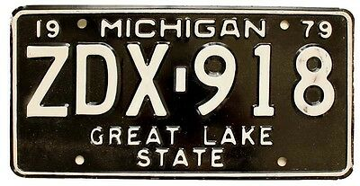 Michigan 1979 License Plate, ZDX-918, Unused, Black Beauty
