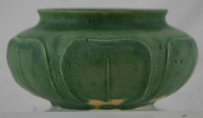 "GRUEBY 3.25"" x 6"" URN W/LEAVES IN MATTE GREEN CURDLED GLAZE SIGNED FACTORY MINT"