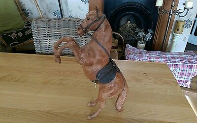 Vintage Leather Figure Statue Of A Horse Rare Large Freestanding Type