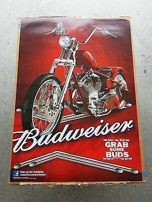 BRAND NEW Budweiser Beer Red Harley Sturgis Chopper Motorcycle Poster Grab Buds!