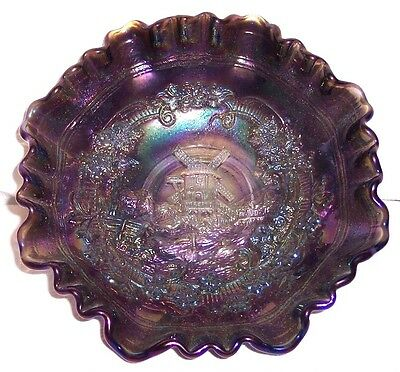 "Vintage Imperial Carnival Glass Opalescent Purple Blue Windmill 8"" Bowl Ruffled"