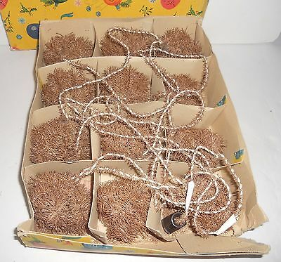 RARE Vintage Christmas Tree Bottle Brush Snow Ball String Lights Boxed Italy