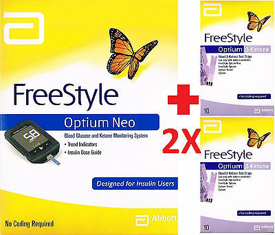 =>ABBOTT FREESTYLE OPTIUM NEO MONITOR + 2x ketone strips 10/box