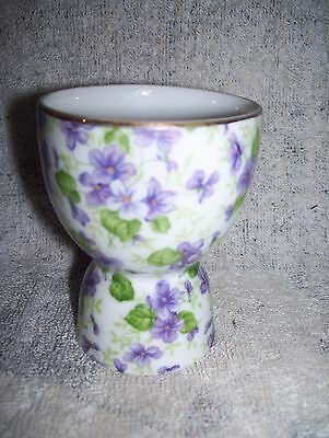 Vintage Lefton China Hand Painted Egg Cup Purple Violets 3 1/4""