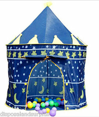Childrens Kids Pop Up BLUE Castle Play Tent Outdoor Cubby Playhouse Wizard