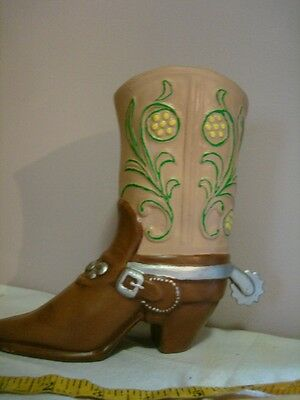 Ceramic Cowboy Boot Vase Figure South Western Decoration with Spur planter