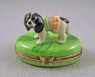 New French Limoges Trinket Box Cavalier King Charles Spaniel Dog Puppy On Grass