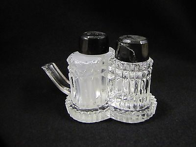 Tiny Salt and Pepper Shaker Set with Clover Tray Antique Cut Glass Unique