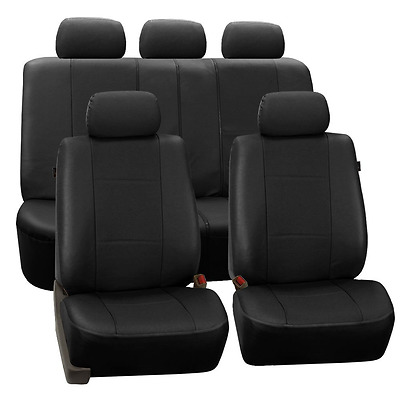 FH Group Universal Fit Full Set Deluxe Seat Cover - Leatherette (Black) (Airbag