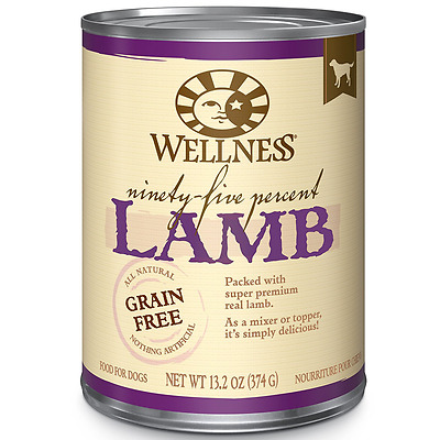 Wellness 95% Lamb Natural Wet Grain Free Canned Dog Food, 13.2-Ounce Can (Pack o