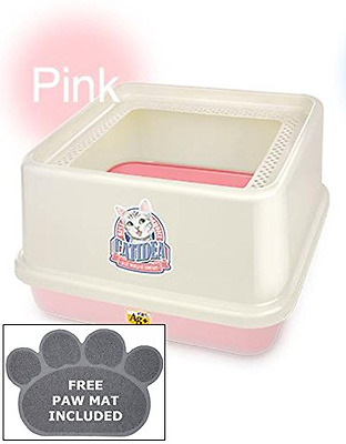 CATIDEA CL7 Pink Luxury Sifting Top Entry Cat Litter Box