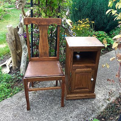 Vintage Solid Oak Telephone Stand With Phone Slot Made In USA