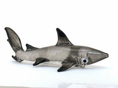 Coastal Style MINIATURE HAND BLOWN GLASS Shark FIGURINE Sculpture Collection