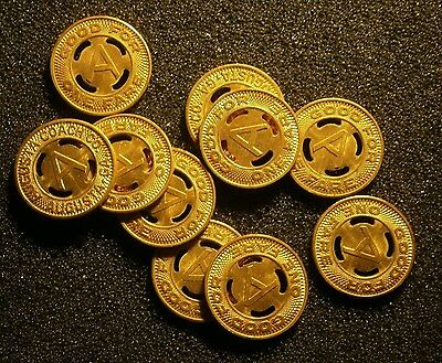 Lot Of 10 Augusta Coach Co, Transit Tokens, Good For One Fare Nice Condition