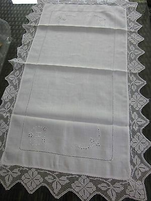 vintage embroidered white cotton voile DRESSER - TABLE RUNNER CLOTH lace trim