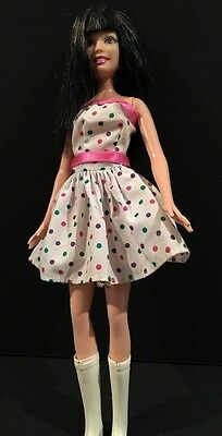 2005 Mattel Barbie With White Polka For Dress & High Top Boots