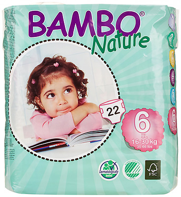 Bambo Nature Premium Baby Diapers, XL, Size 6, 22 Count (Pack of 6)