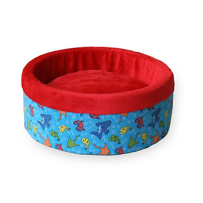 K&H Manufacturing Thermo-Kitty Heated Cat Bed, Small 16-Inch Round, Fish Print,