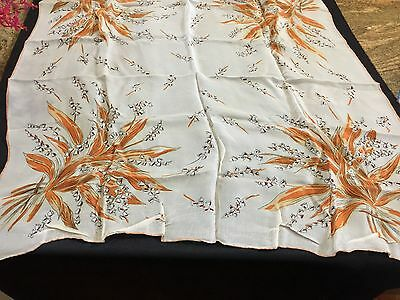 Lily of the Valley Print Fine Silk Vintage Scarf, Beige Brown Orange,1950s -1970