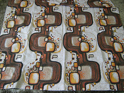 Retro Fabric, pair Curtains, 1970's funky brown abstract, crafting