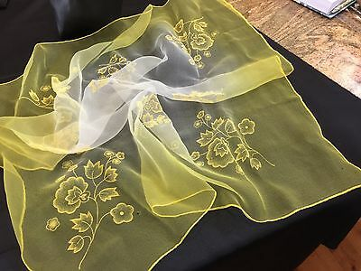 Sheer  Variagated Yellow  Silk Vintage Scarf featuring Flocking,1950s -1970