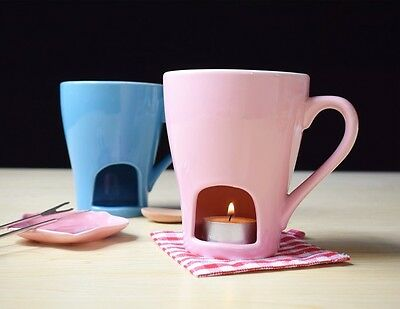 Fondue Cup Ceramic Cheese Tools Fork Candle Eco-Friendly StonewareCeramic