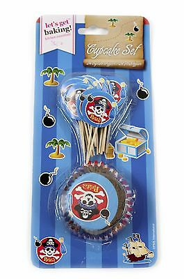 NEW 48 pc Pirate Cupcake Set Cases Toppers Birthday Party Decoration Baking