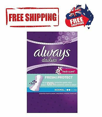 Always Dailies Panty Liners Fresh and Protect Normal Female Hygiene - 39 Pack