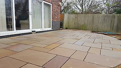 Indian Sandstone Paving - Natural Stone Patio Flags - Calibrated Slabs (15.30m2)