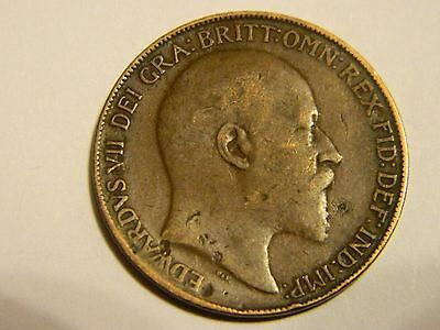 1918 Great Britain UK Large Bronze One Penny --INV340