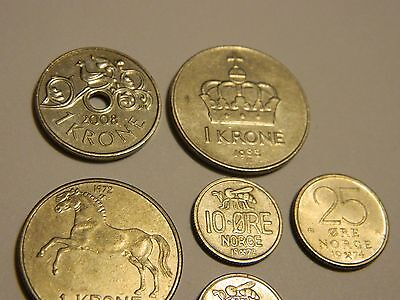 Vintage Norway Coin Lot of 6 World Coins