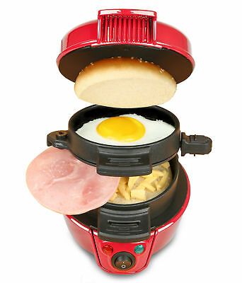 Quick Breakfast Sandwich Burger Muffin Maker Eggs Cheese Press Iron Grills New